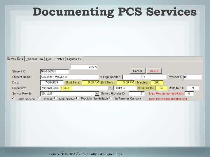 Documenting PCS Services
