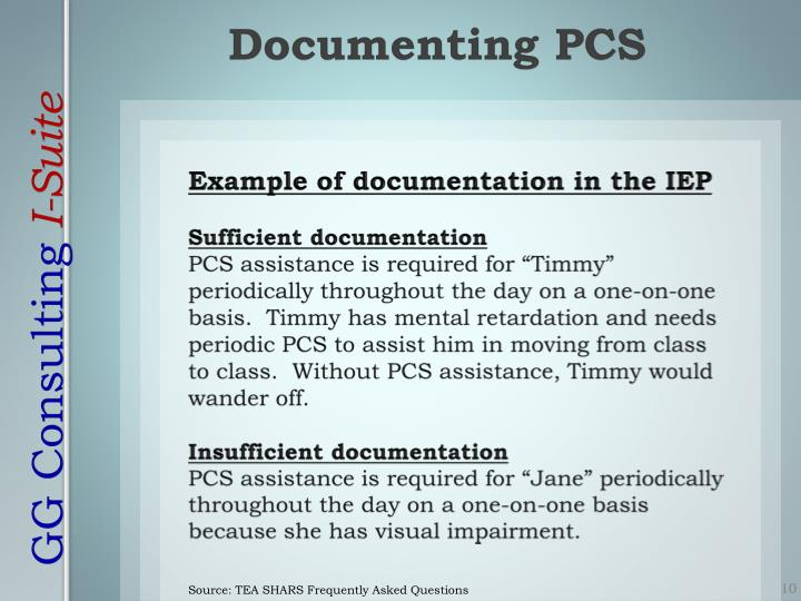 Example of documentation in the IEP