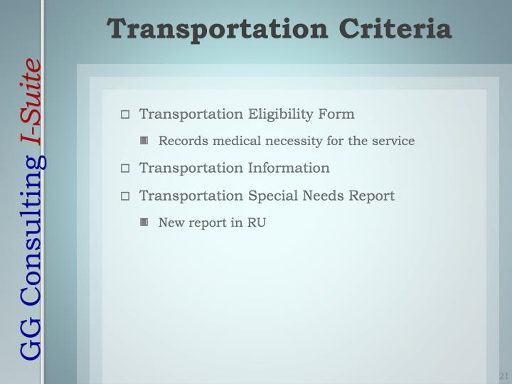 Transportation Criteria