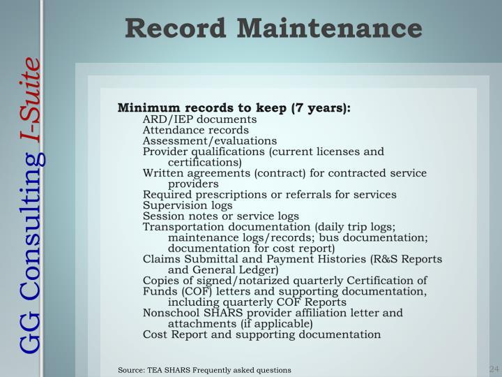 Minimum records to keep (7 years):