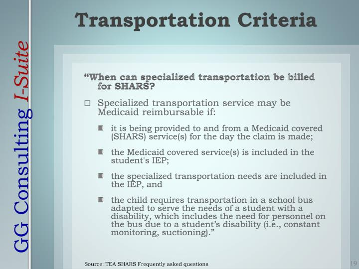 """""""When can specialized transportation be billed for SHARS?"""