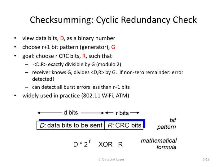 Checksumming: Cyclic Redundancy Check