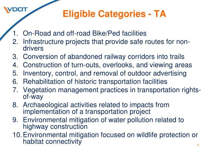 Eligible Categories - TA