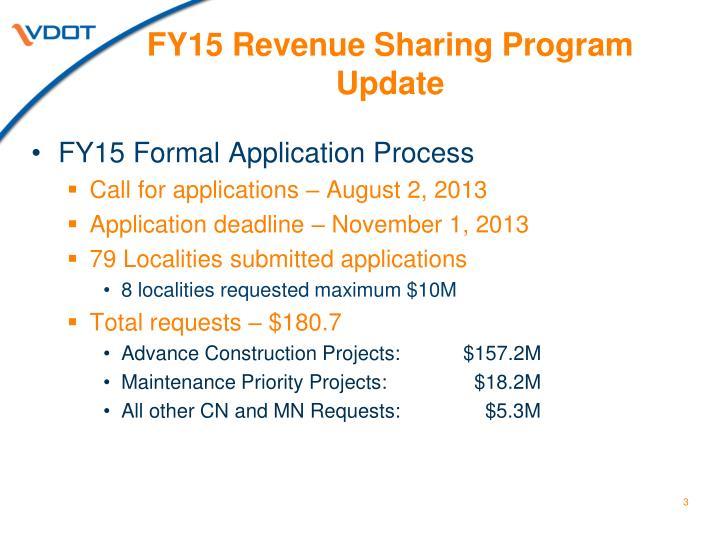 FY15 Revenue Sharing Program Update