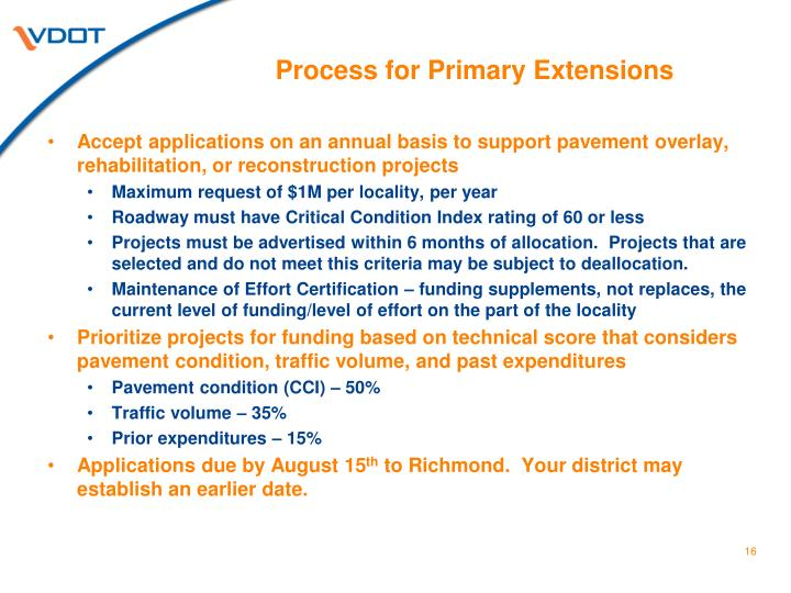 Process for Primary Extensions