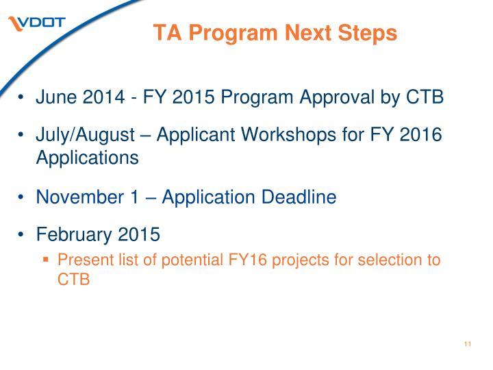 TA Program Next Steps