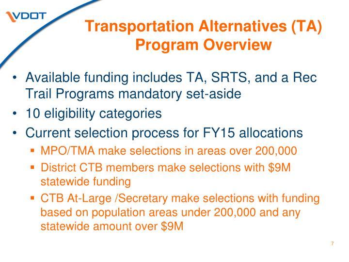 Transportation Alternatives (TA) Program Overview