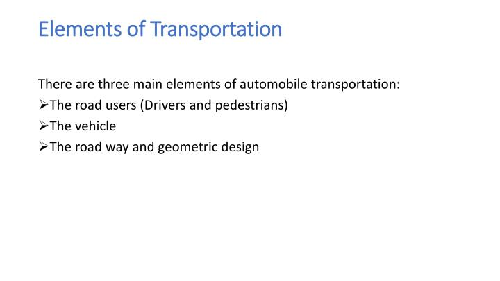 Elements of Transportation