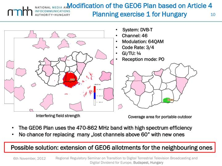 Modification of the GE06 Plan based on Article 4