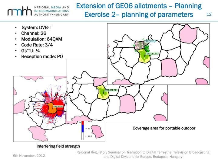 Extension of GE06 allotments – Planning Exercise 2– planning of parameters