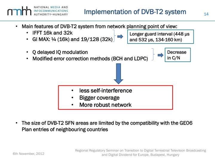 Implementation of DVB-T2 system