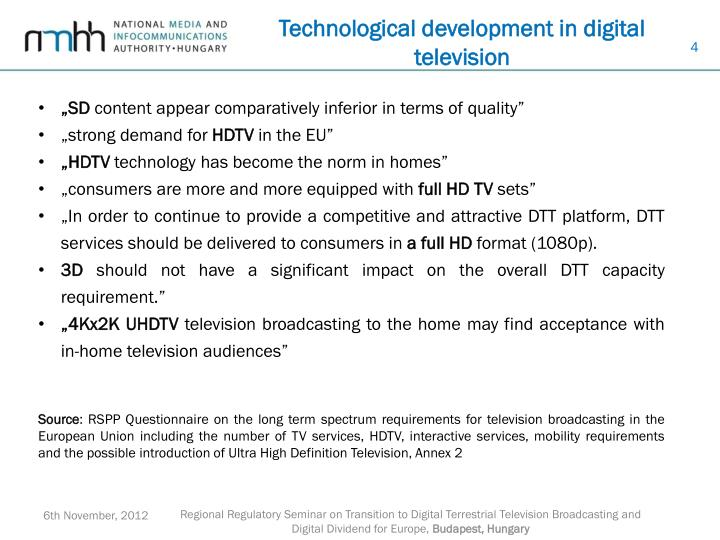Technological development in digital television