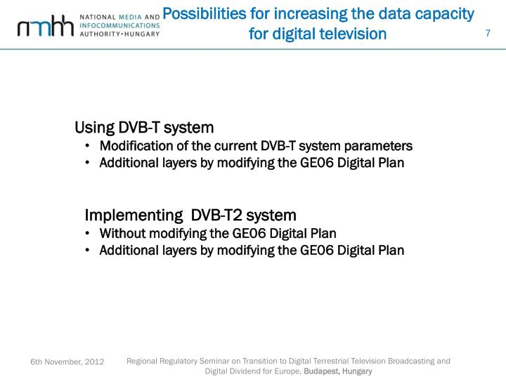 Possibilities for increasing the data capacity for digital television