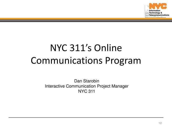 NYC 311's Online Communications Program