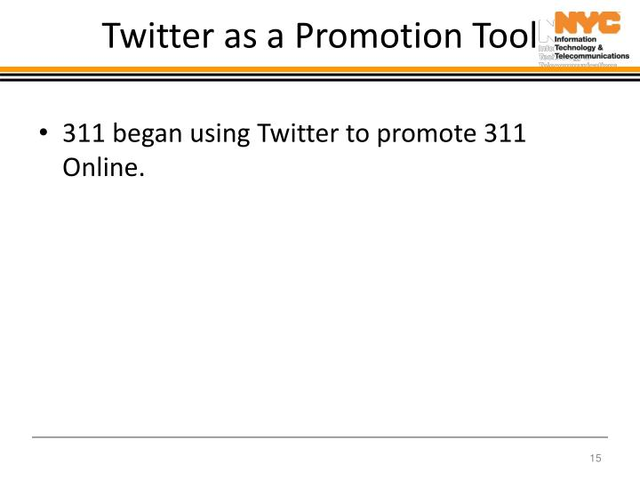 Twitter as a Promotion Tool