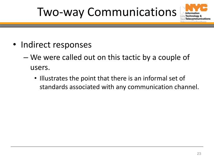 Two-way Communications