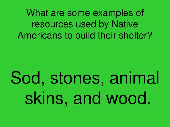 What are some examples of resources used by Native Americans to build their shelter?