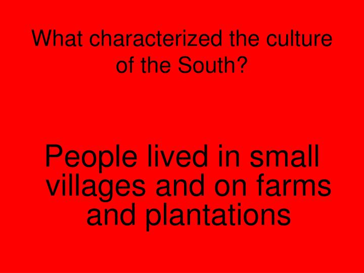 What characterized the culture of the South?