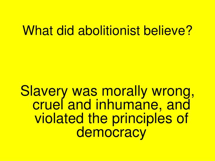 What did abolitionist believe?