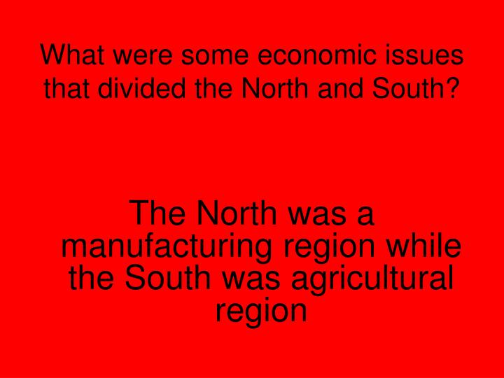 What were some economic issues that divided the North and South?