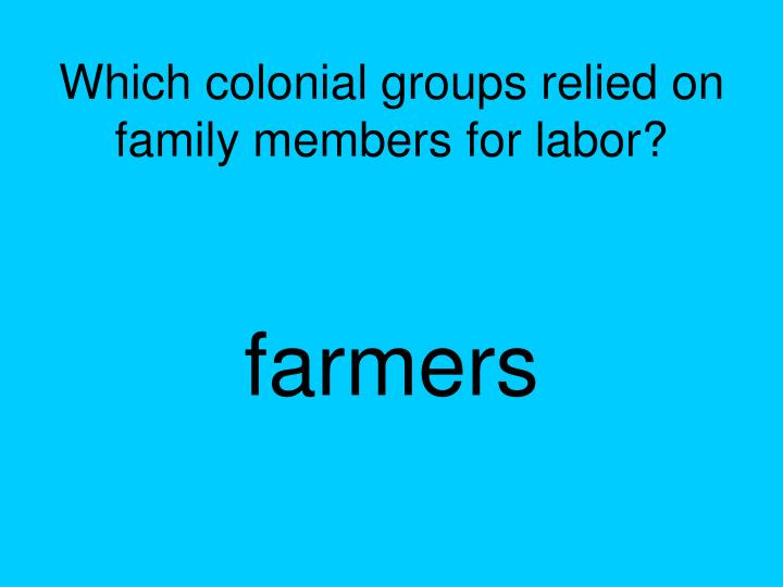 Which colonial groups relied on family members for labor?