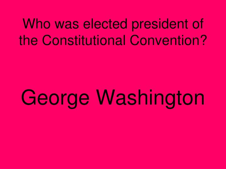 Who was elected president of the Constitutional Convention?