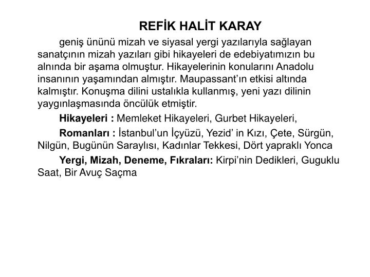 REFK HALT KARAY