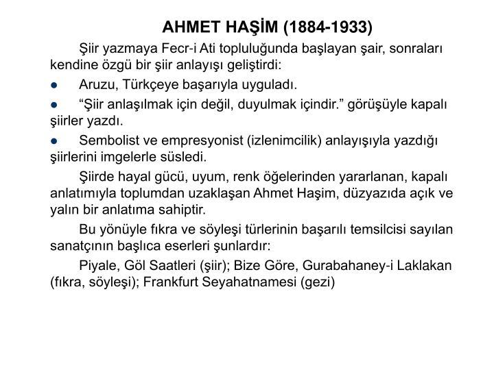 AHMET HAM (1884-1933)