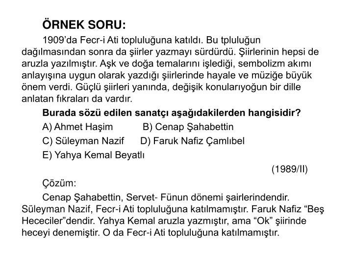 RNEK SORU: