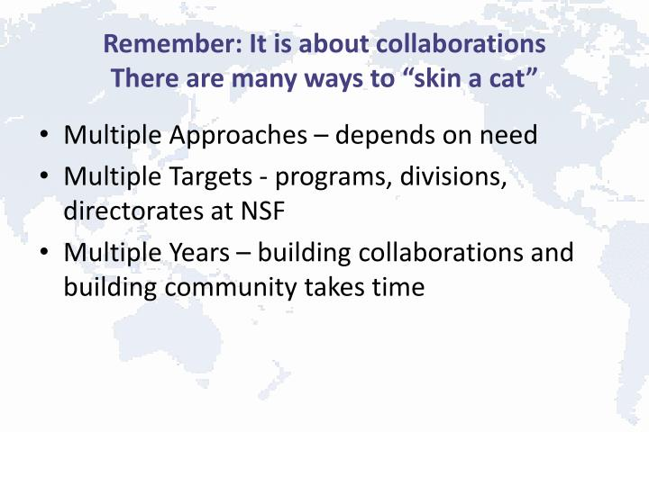 Remember: It is about collaborations