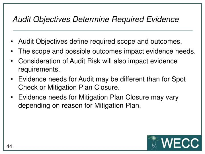 Audit Objectives Determine Required Evidence