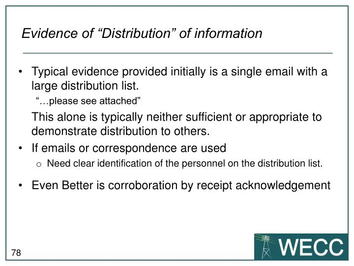 "Evidence of ""Distribution"" of information"