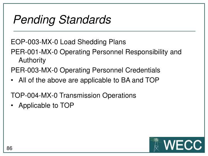 Pending Standards