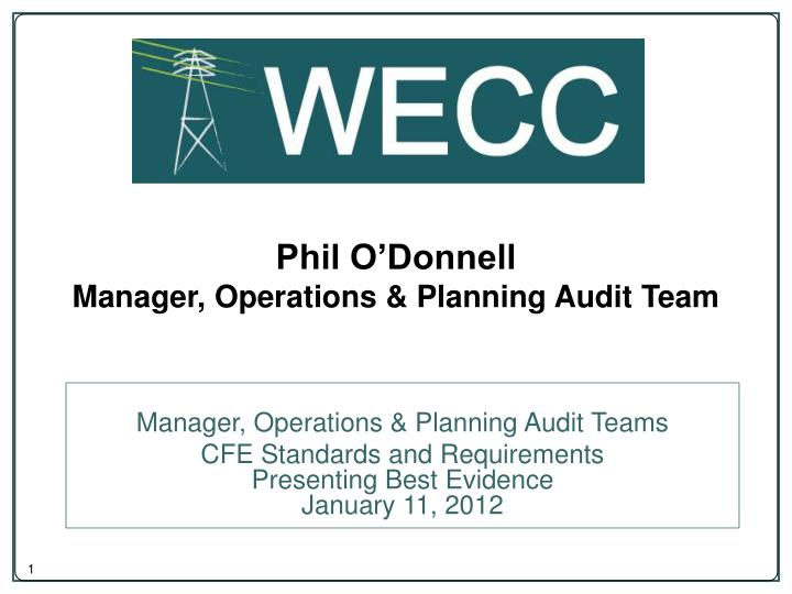 Phil o donnell manager operations planning audit team