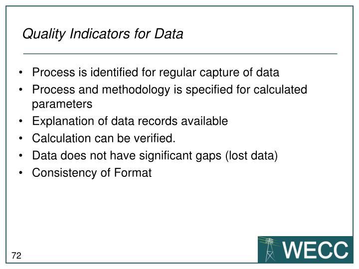 Quality Indicators for Data