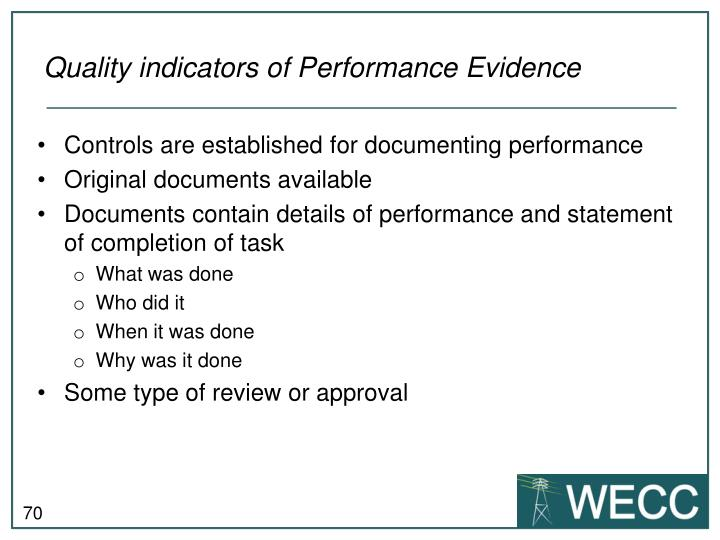 Quality indicators of Performance Evidence