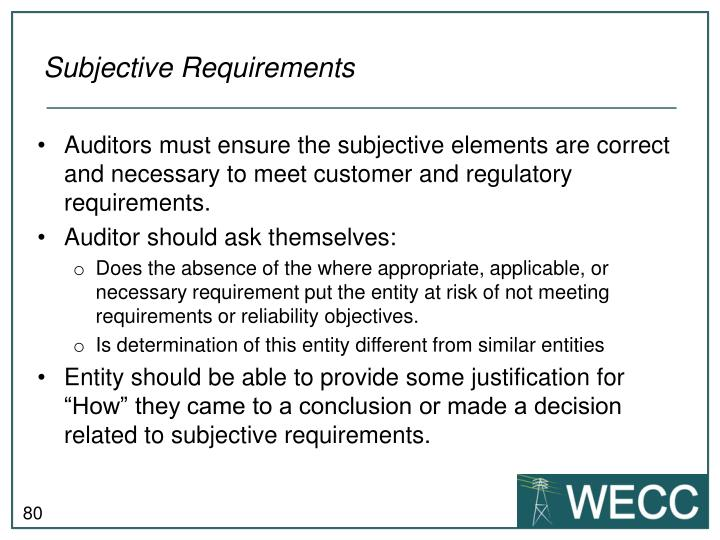 Subjective Requirements