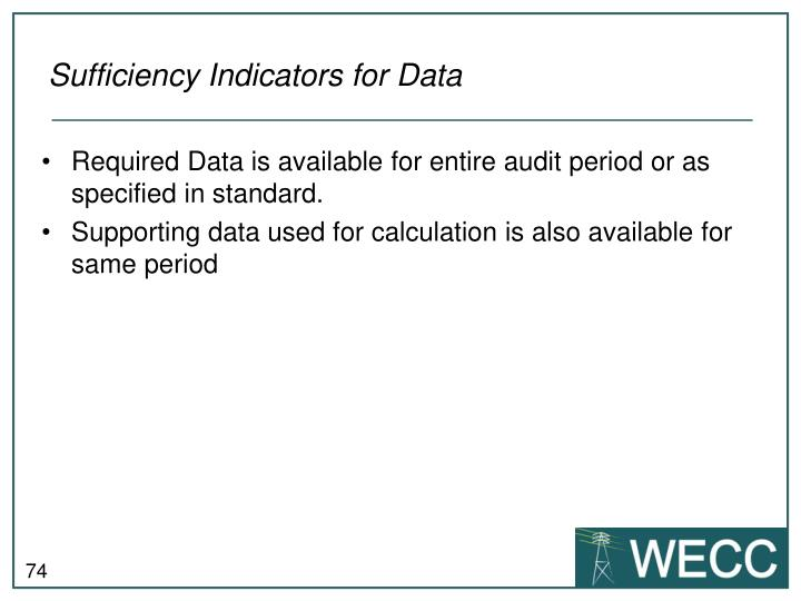 Sufficiency Indicators for Data