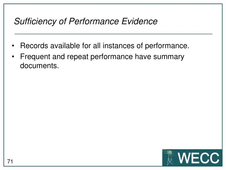 Sufficiency of Performance Evidence
