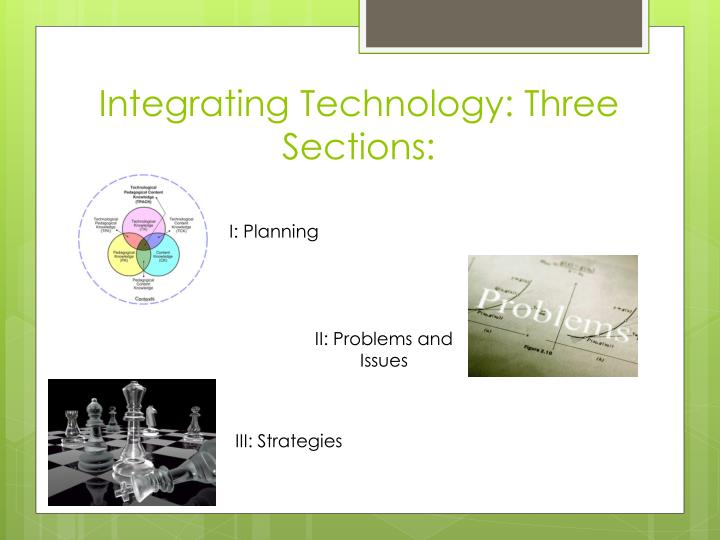 Integrating Technology: Three Sections: