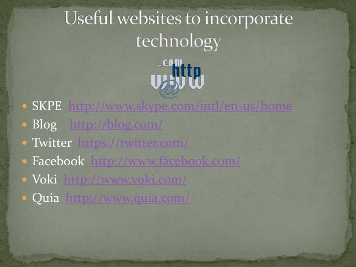 Useful websites to incorporate technology