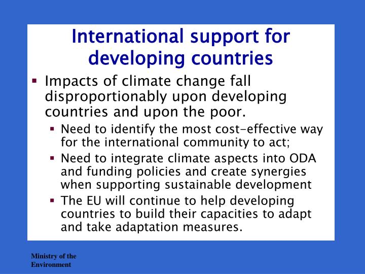 International support for developing countries