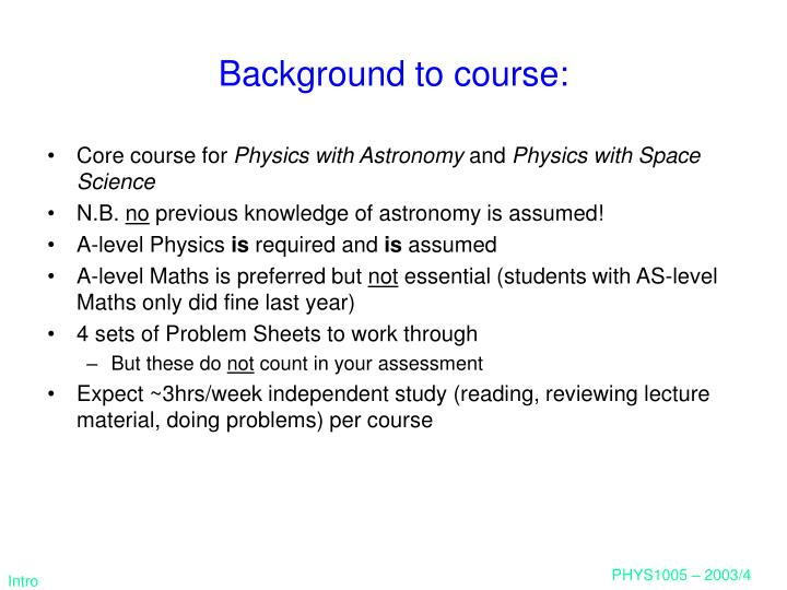 Background to course: