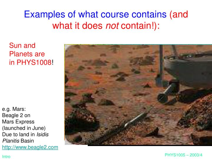Examples of what course contains