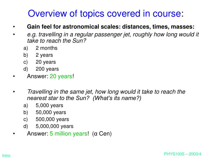 Overview of topics covered in course