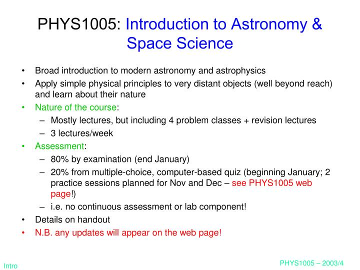 Phys1005 introduction to astronomy space science