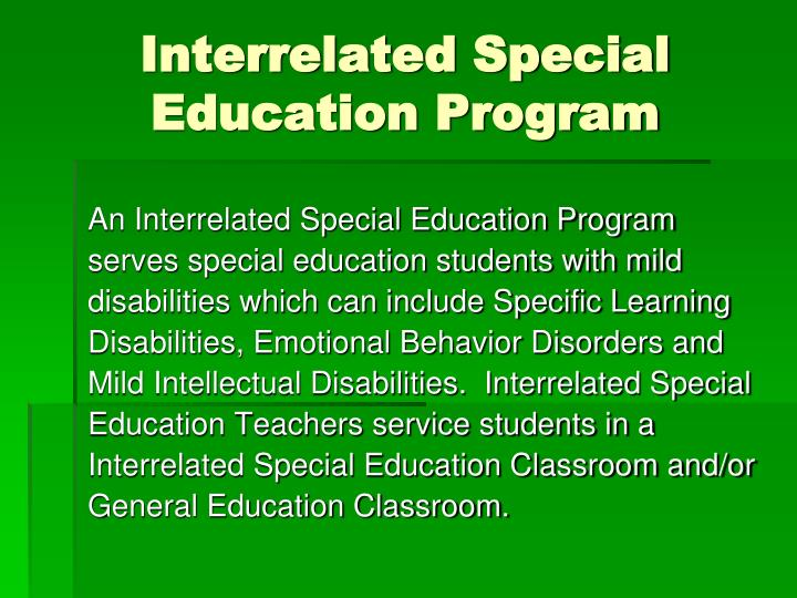 Interrelated Special Education Program