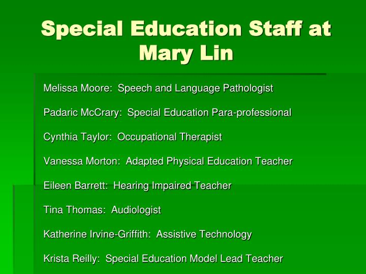 Special Education Staff at Mary Lin