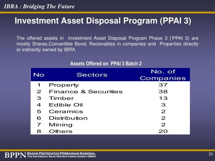 Investment Asset Disposal Program (PPAI 3)