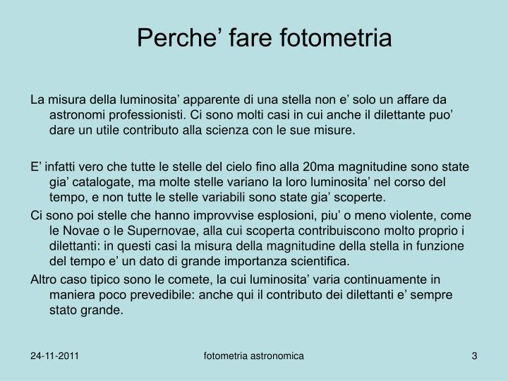 Perche fare fotometria
